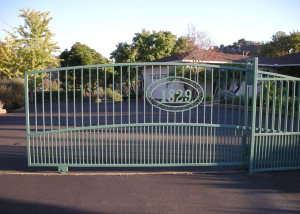 dw17 we custom built and installed this driveway gate for a home in el cajon ca the automatic gate is built with a 2 steel tube arched frame and - Metal Gate Frame