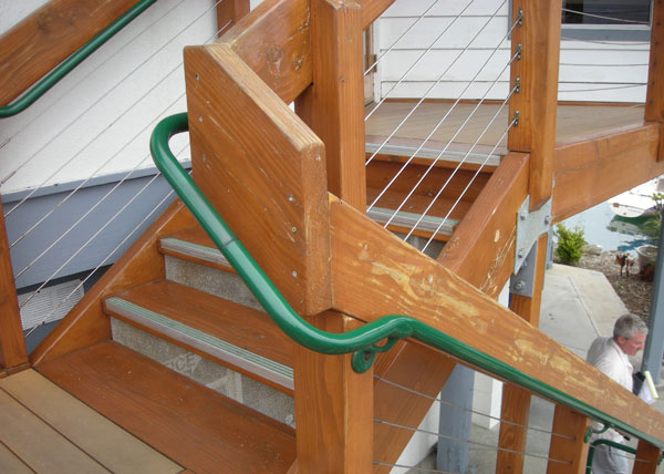 R12 During This Commercial Iron Handrail Installation In Oceanside, CA,  B.A. Ramirez U0026 Sons Added A Green Pipe Handrail To The Existing Rails Of  This Wooden ...