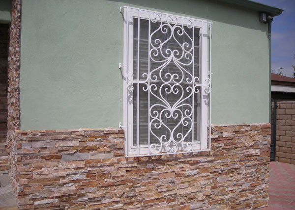Wrought iron security window bars san diego ca fire for Window guards