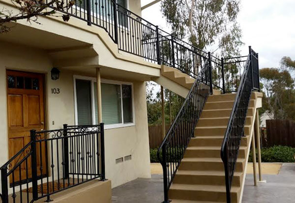 Staircase railings decorative wrought iron san diego ca - Metal railings for stairs exterior ...
